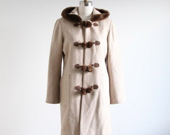 Vintage Tweed Faux Fur & Toggle Coat