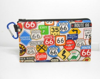 Carabiner Coin Purse, Route 66, Gift for Him, Boy Coin Purse