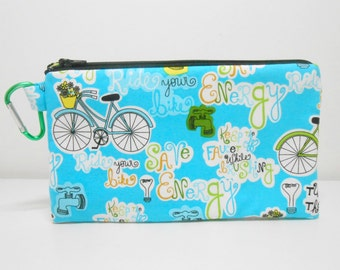 Recycling Coin Purse, Large Carabiner Clip Change Purse, Blue Coin Purse with Bikes, Bicycle Zip Pouch