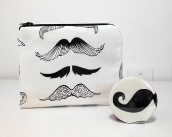 Mustache Coin Purse and Pocket Mirror Accessory Set, Mustache Zipper Pouch, Black and White Mustache