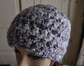 Warm Winter Hat in Crochet Purple Boucle Ladies Hat