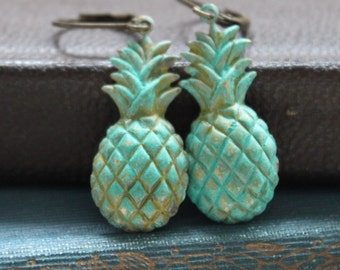 Pineapple Earrings, Patina Brass, Boxing Day Sale