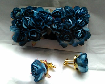 Father's Day Prom Blue rosett embellished cuff link and bow tie set