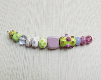 Lampwork glass bead mix—Shades of Lavender and Lime