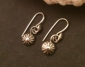 Minimalist Flower Earrings, Handmade Leaves, Small Sterling Silver Dangles, Silversmith Casual Everyday Style, Floral Gift for Gardener