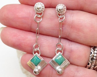 Square Turquoise Dangle Earrings, Handcrafted Silversmith, Delicate Long Earrings, Small Everyday Casual Boho Chic Bohemian Minimalist Posts