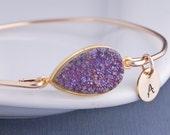 Gold Druzy Bangle Bracelet, Personalized Druzy Jewelry, Purple Druzy Bangle with Charms