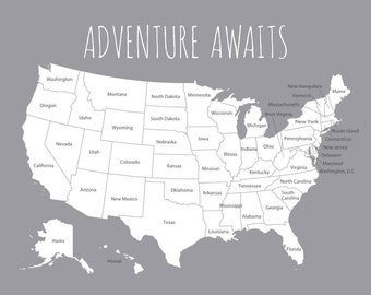 United States Travel Map - US Vacation Map for Places Visited, Road Trip Map of USA, First Year Wedding Anniversary Gift for Husband or Wife