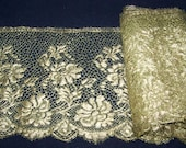 "Reserved  For Teri  Gorgeous  Antique 20's NOS Metallic Gold Net Lace Edging French 8.3/8"" Wide Flapper Flowers Millinery"