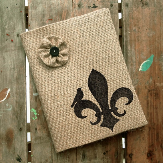 Fleur de Lis -  Burlap Feed Sack Journal Cover w. Notebook