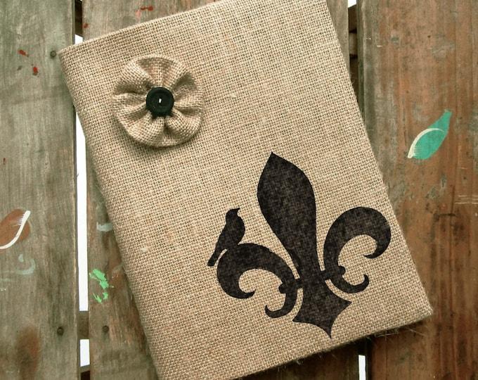 Fleur de Lis -  Burlap Feed Sack Journal Cover w. Notebook