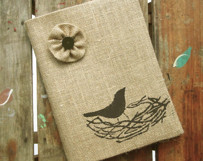 Nest -  Burlap Feed Sack Journal Cover w. Notebook