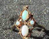 Vintage Opal Ring ESTATE 10K Yellow Gold Sz 9 Multi Oval Round Fire Stones Shield Shape SALE