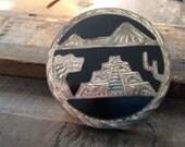 Vintage Silver 925 Pin Pendant MEXICO Onyx Inlay Mayan Aztec Inspired Symbols Pyramid Saguaro Cactus Temple Tribal Brooch Multi Toned Finish