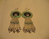 Native American Style rosette beaded Hartline Bear Bear Paw earrings in Silver and Turquoise Green