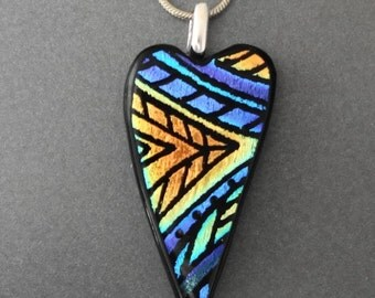 Small Glass Heart Necklace, Blue and Copper Heart, Dichroic Glass Hand Etched Pendant, Fused Glass Heart Pendant  -Zentangle Style Heart