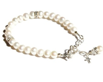 Little Miss June, Pearl Birthstone Bracelet- with choice of charm, Freshwater Pearls