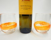 Set of 2 Hand Blown Art Glass Stemless Wine Glasses, Watercolor Series in Orange/Yellow Band Wedding Registry Gifts