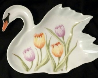 China Painted Porcelain Swan Tulip  Dish