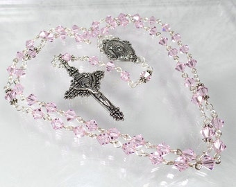 Pink Rosary Mother's Day Gift Swarovski Rosary Light Pink Quinceanera Confirmation Gift Godmother