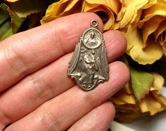 1930s Antique Vintage Art Deco Large Saint St Christopher Religious Medal Pendant Traveler's Protection Amulet