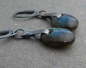 Labradorite Earrings Blue Flash Earrings Leverback Earrings Oxidized Sterling Silver Earrings Long Earrings