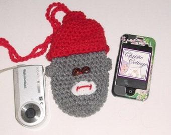 Sock Monkey Pouch, Camera, Bottle, Free Shipping, Crocheted Ready2 Ship