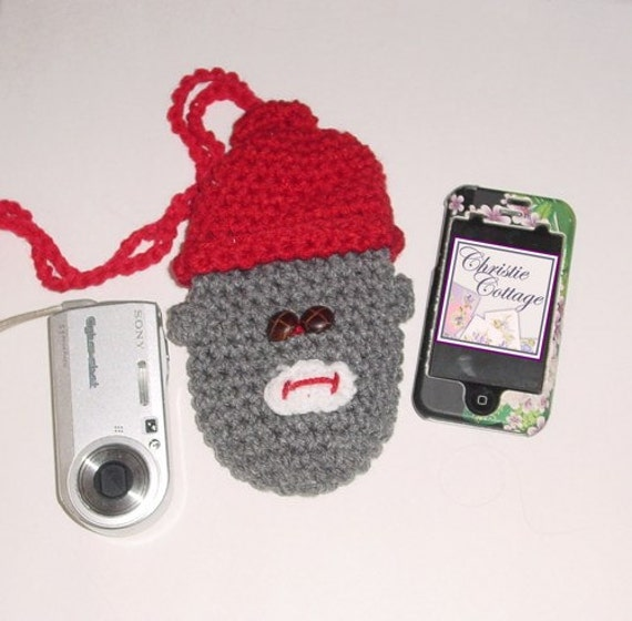 Sock Monkey Pouch, Camera, Bottle, Free Shipping, Crocheted Ready2 Ship