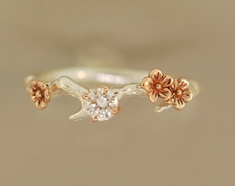 Cherry Blossom Branch,twig ring,branch ring,alternative engagement ring,wedding ring, gold twig ring,