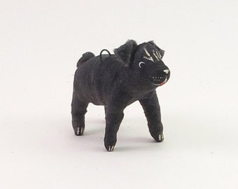 Spun Cotton Vintage Inspired Pug Dog Figure/Ornament