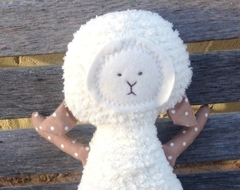 Lamb Toy Soft Doll, Plush, Natural Eco Friendly, Dottie