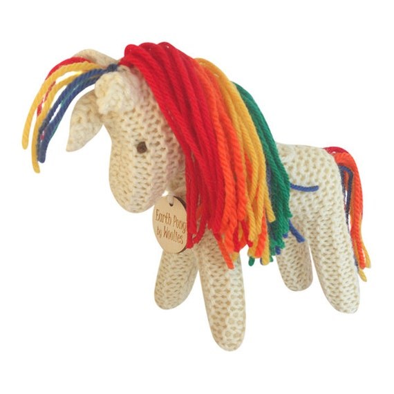 Rainbow Unicorn, Earth Pony, Waldorf Toy, Stuffed Animal Horse, Eco Kids Toy, HandKnit, All Natural Childrens Toy