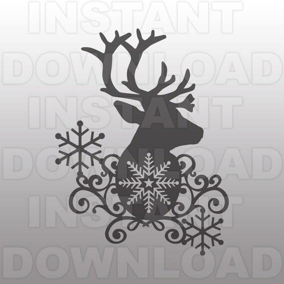 Reindeer Winter Flourish Svg Filesnowflake Svgchristmas Svg