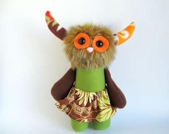 Monster Girl Doll Stuffed Animal Plush Toy Handmade Rag Doll Girls Skirt Orange Eyes Sage Green Dark Brown