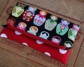 Mini fold over clutch, zippered pouch, Russian nesting dolls