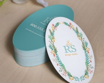 """250 Custom Printed 2""""x3.5"""" Oval Hang Tags  - Great High End Quality - Professionally Printed - Super Thick 14pt Cardstock"""