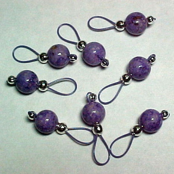 Purple Fossil Beads On Lavender Wire Stitch Markers - US 10 - Item No. 784