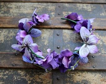 Peaceful Faerie Flower & Butterfly Crown - Wreath - Tiara - Headband - Costume - Wedding - Bridal - Prom
