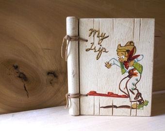 1950's Wood Blank Journal Scrapbook, My Trip, E. A. Costalin, Los Angeles California