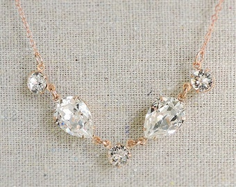 Swarovski Crystal Bridal Necklace, Faux Diamond Rose Gold Necklace, Delicate Clear Crystal Jewelry, Crystal Teardrop Dainty Necklace