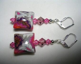 Pink Earrings Pink Rose Earrings Dangle Earrings Artisan Polymer Clay Silver Earrings Swarovski Crystals Earrings Leverback Hooks