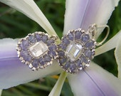 Rock Crystal Quartz Baguette wire wrapped,Faceted Tanzanite,sterling silver Leverback earrings