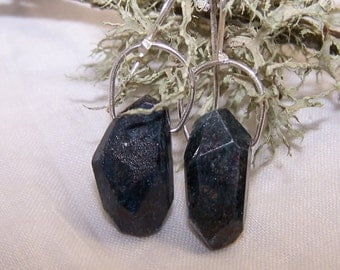 Faceted freeform Teal Kyanite nugget, sterling silver  hook style earwire, earrings