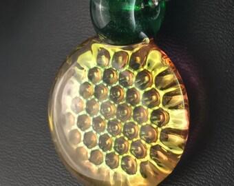 Green Stardust Glass Pendant Bead Fume Gold 3D Impression Honeycomb Silver --Dan Rushin (2)