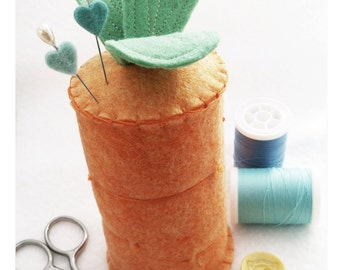 From The Garden - Carrot Wool Blend Felt and Cotton Pin Cushion