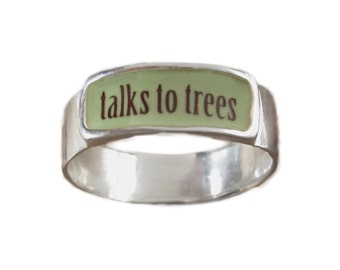 Talks to Trees Band Ring - Sterling Silver and Vitreous Enamel Talks to Trees Ring - Ring for Tree Huggers