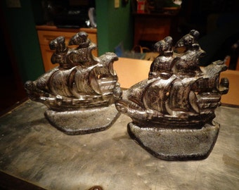 Marked down on 7/23  Ship Bookends Pair Heavy Vintage Bookends Collectible Cast Iron Bookends Ships