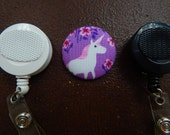 Fabric Covered Button for Clip on Retractable Badge Reel - Unicorn