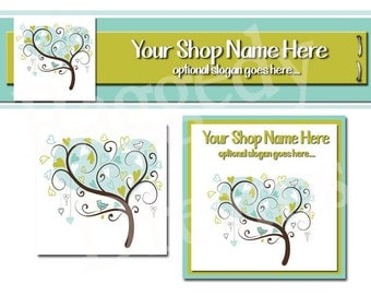 Premade Etsy Cover Photo - Large Etsy Banner - Premade Etsy Shop Banner - SHOP ICON - Shop Profile - Boutique - Blue Hearts - Whimsical Tree