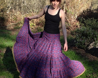 Gypsy Skirt, Drawstring skirt, bustle back, super twirly, handmade, fits hips to 45""
